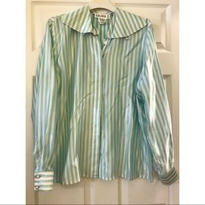 Vintage Blue Striped Escada Blouse